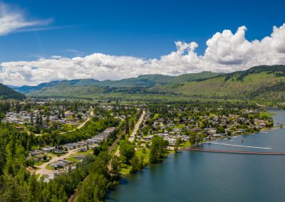 Commercial aerial photoshoot of the Village of Chase, BC